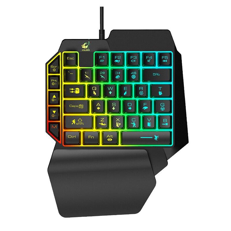 39 klawiszy lewa ręka jednoręczne podświetlenie klawiatury klawiatura do gier wrażenie mechaniczne mobilna gra telefoniczna klawiatura do gry LOL PUBG CF