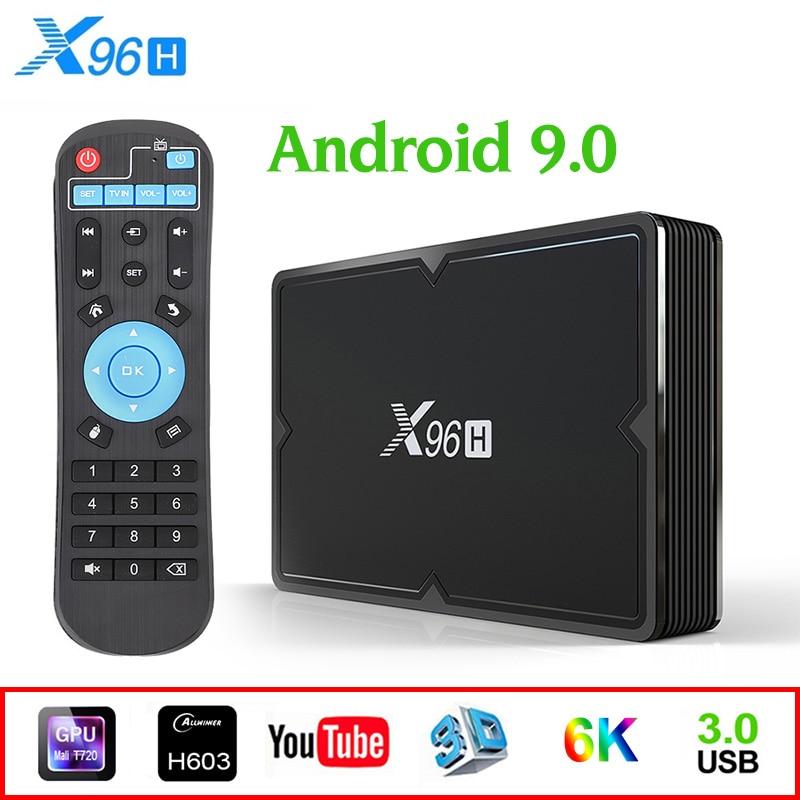 X96H 4G 32G/64G Android 9,0 Dispositivo de TV inteligente 6k Android TV soporte de caja BT 4,1 a 2,4G/5G reproductor de medios inalámbrico Set Top Box