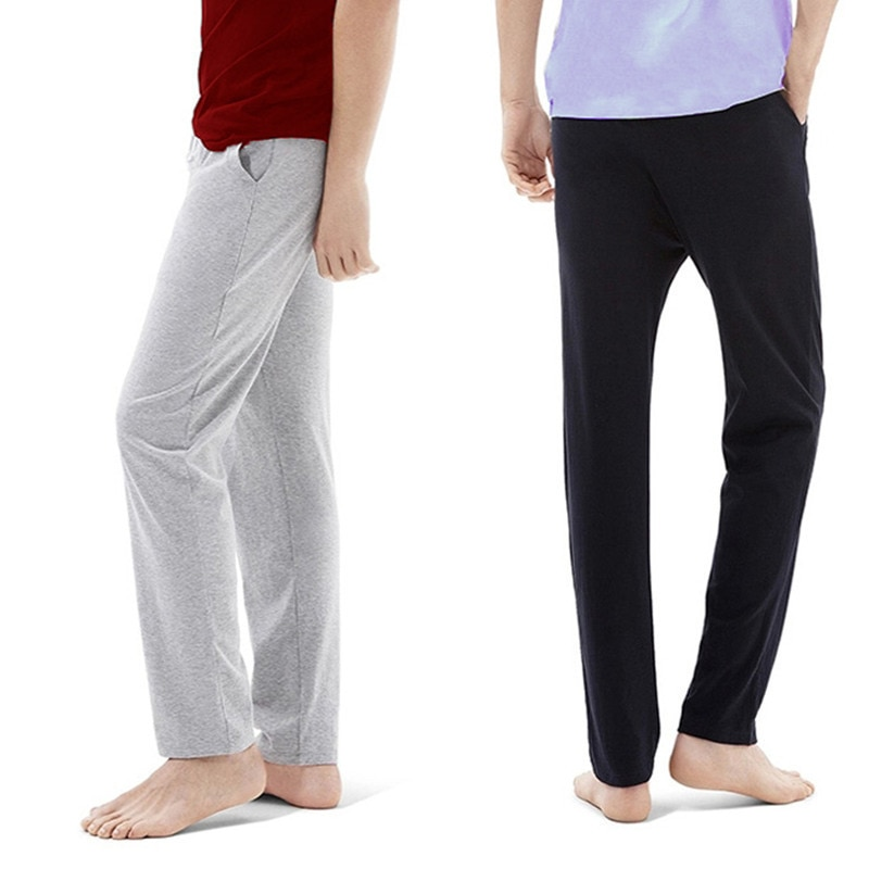 Мужские домашние штаны из хлопка; Сезон весна-лето; Свободные пижамные штаны для мужчин мужские размера плюс с эластичной резинкой на талии,...