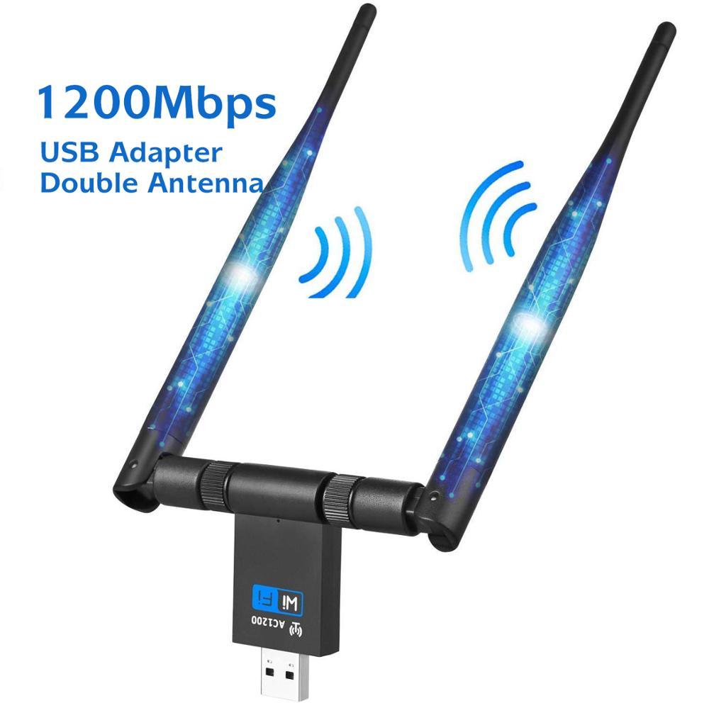1200Mbps WIFI USB adaptador Dual antena USB 3,0 tarjeta de red de 5Ghz Adaptador inalámbrico para el ordenador portátil Win 7/8/10 Linx2 MAC OS Vista