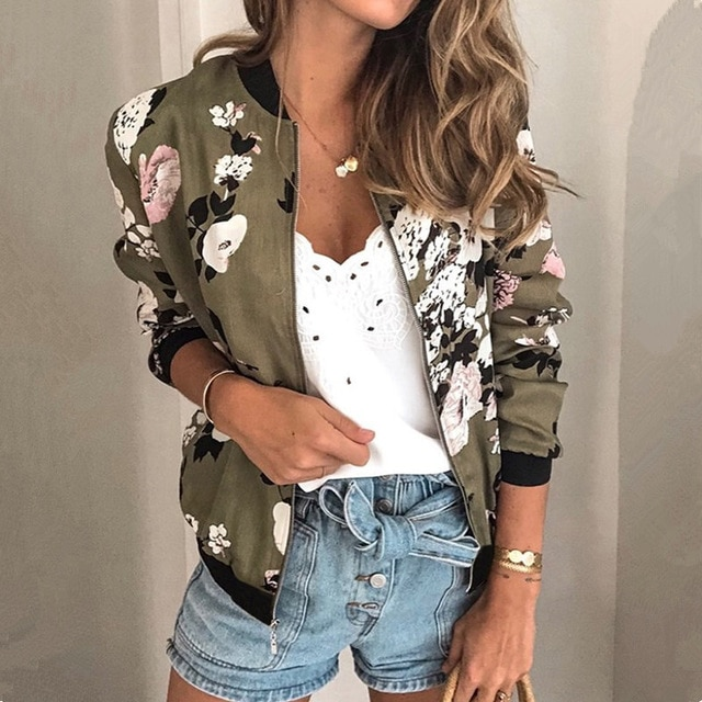 Women Jackets Retro Floral Printed Ladies Zipper Up Bomber Outwear Spring Long Sleeve Short Thin Slim Casual Pocket Biker Coats