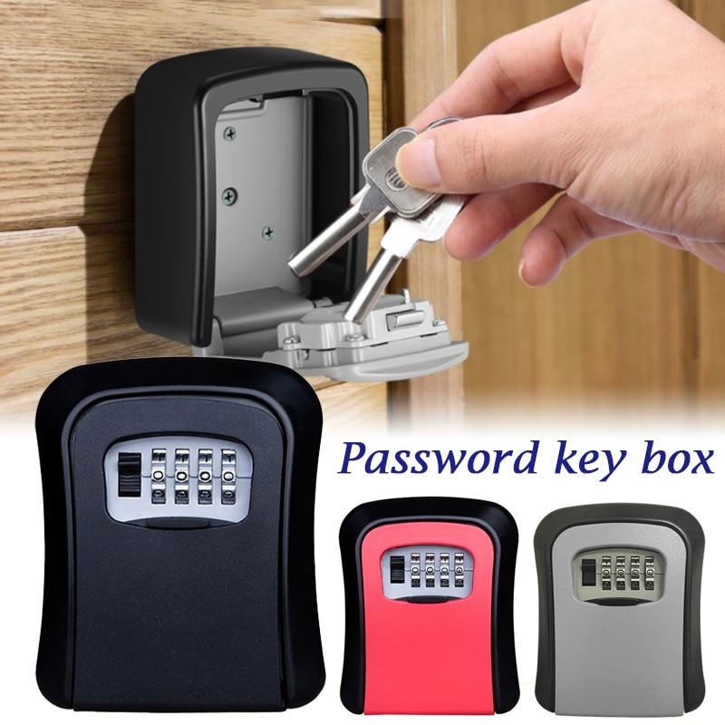 Key Lock Box Wall Mounted Plastic Aluminum Key Safe Box Weatherproof 4 Digit Combination Key Storage Lock Box Indoor Outdoor Use