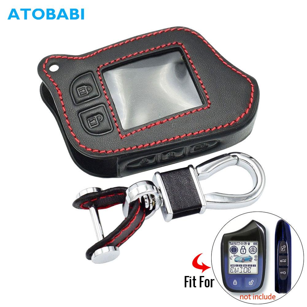 Leather Car Key Cover For Scher-Khan Magicar 13 14 M13 M14 M110AS 2 Way Car Alarm LCD Remote Controller Keys Bag Keychain Case