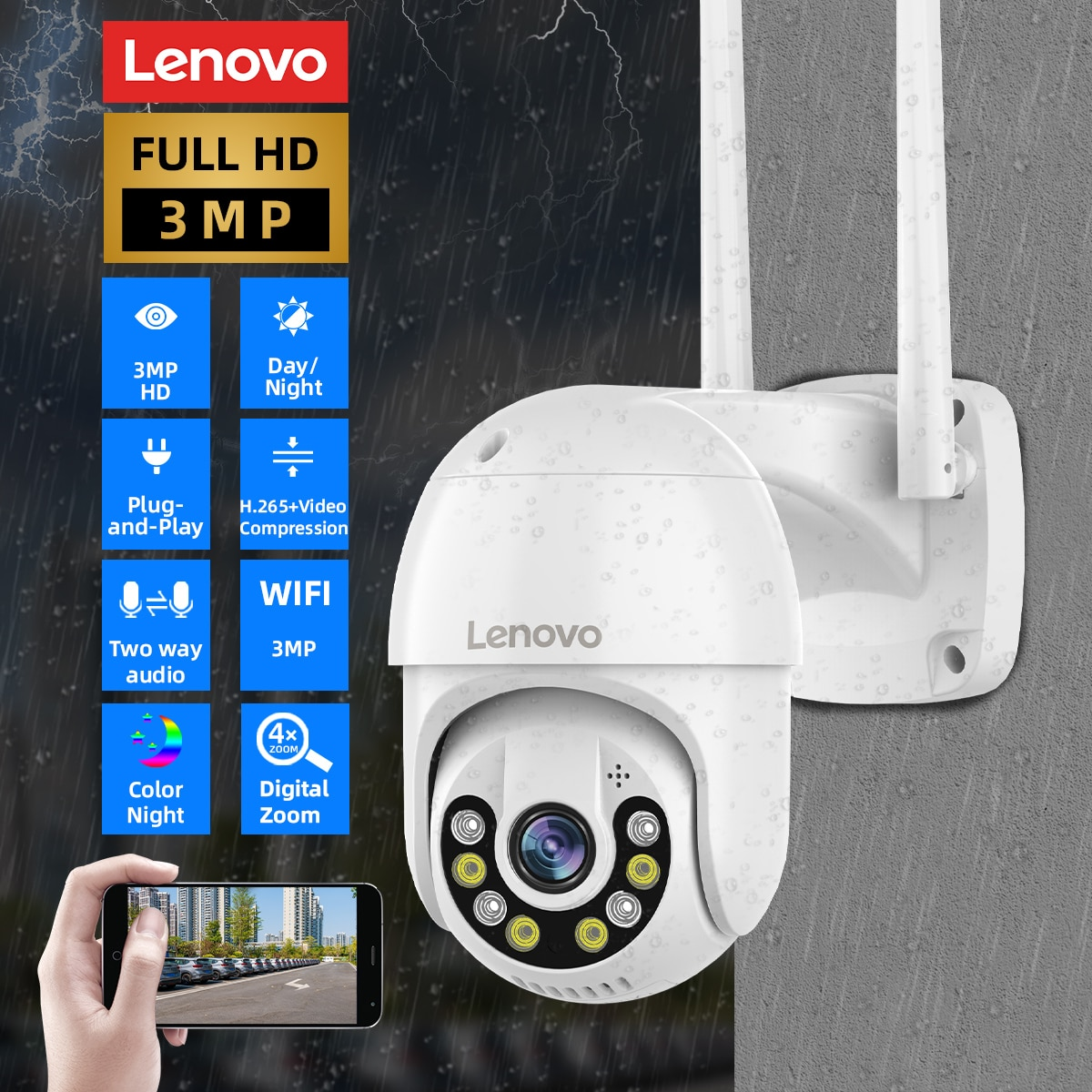 Lenovo 3MP PTZ WIFI IP Camera Outdoor 4X Digital Zoom Night Full Color Wireless H.265 P2P Security CCTV Camera