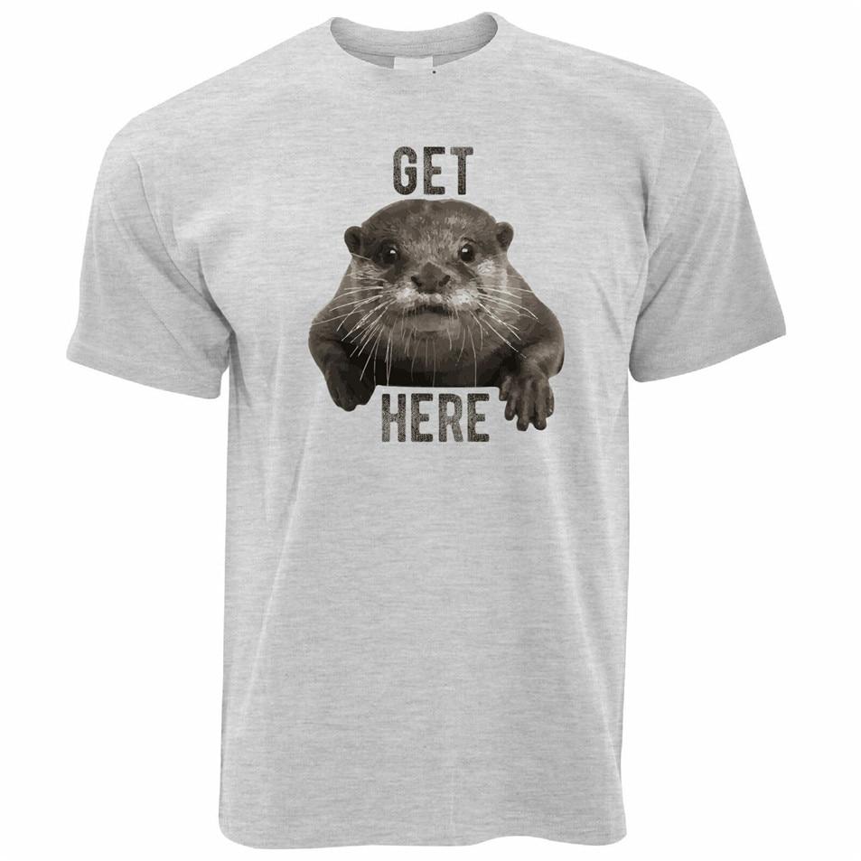 Novedades divertidas T camisa a Otter aquí Pun lindo Animal divertido broma nuevas tendencias camiseta