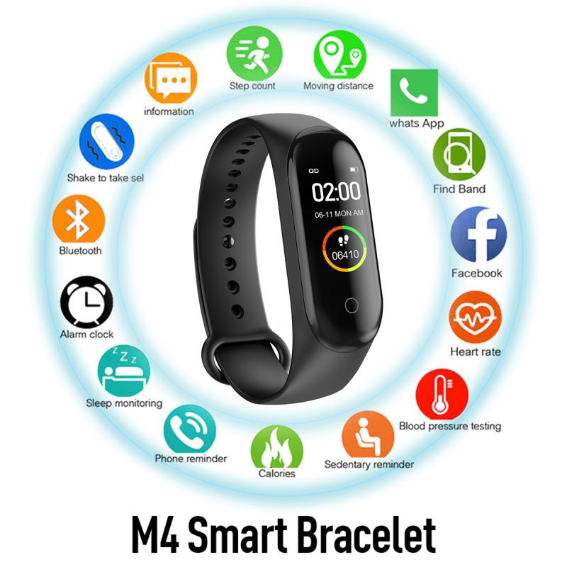 M4 Smart Band Watch Men Woman Blood Pressure Heart Rate Monitor Fitness Bracelet For Android IOS Smart Wristbands Pedometers New