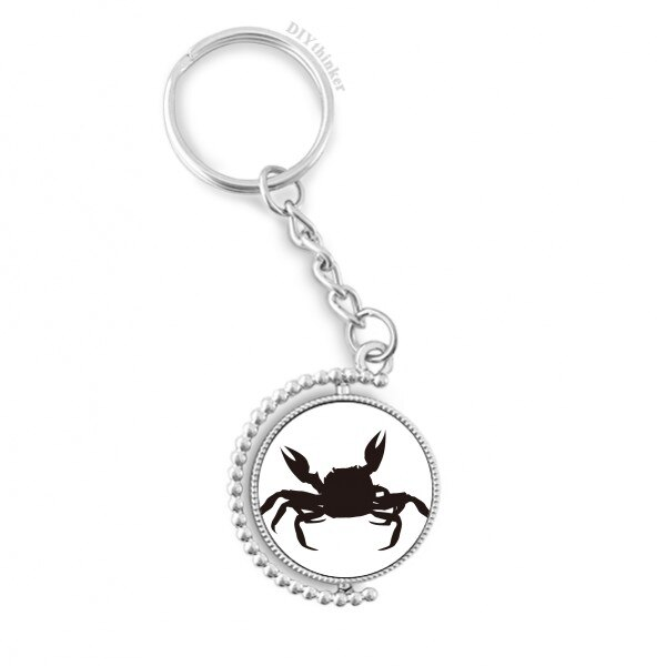 Black Crab Illastrate Marine Organism Rotatable Key Chain Ring Keyholder