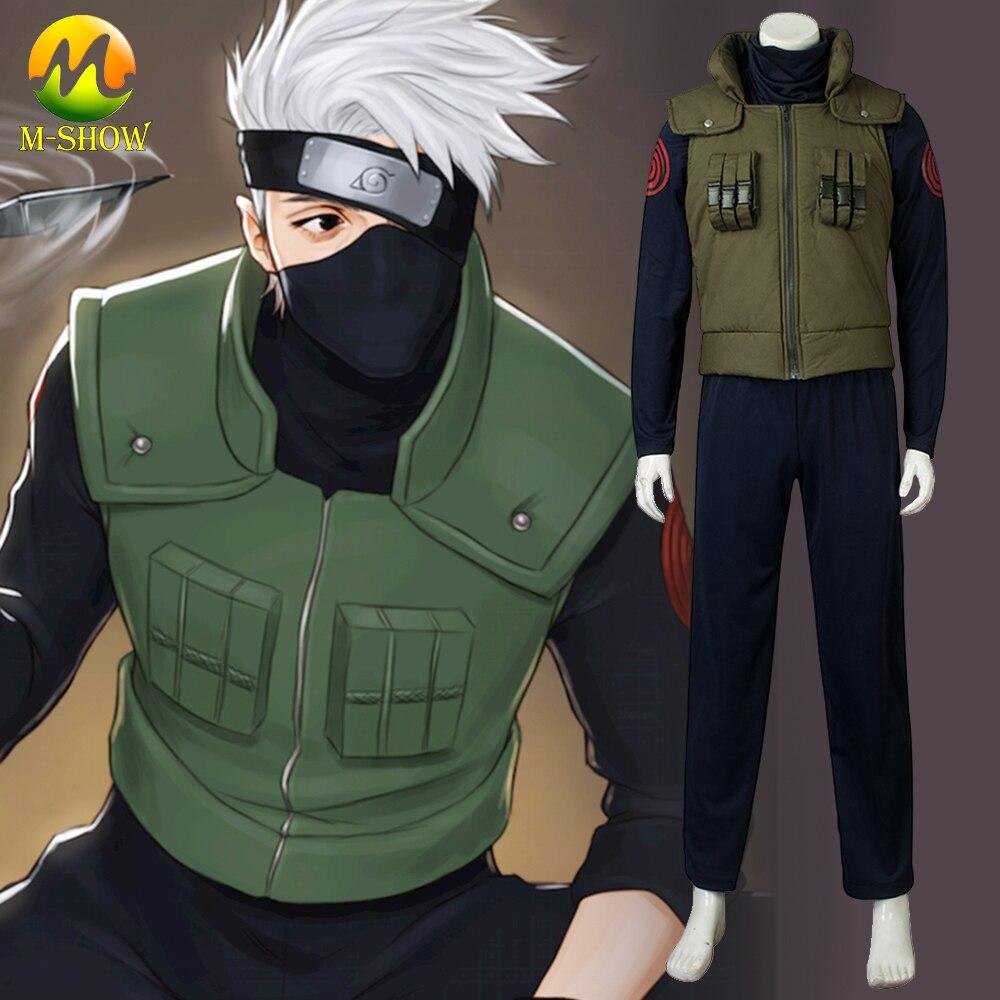Anime naruto hatake kakashi cosplay traje de halloween naruto cosplay colete grosso camisa calças fut conjunto adulto e crianças tamanho