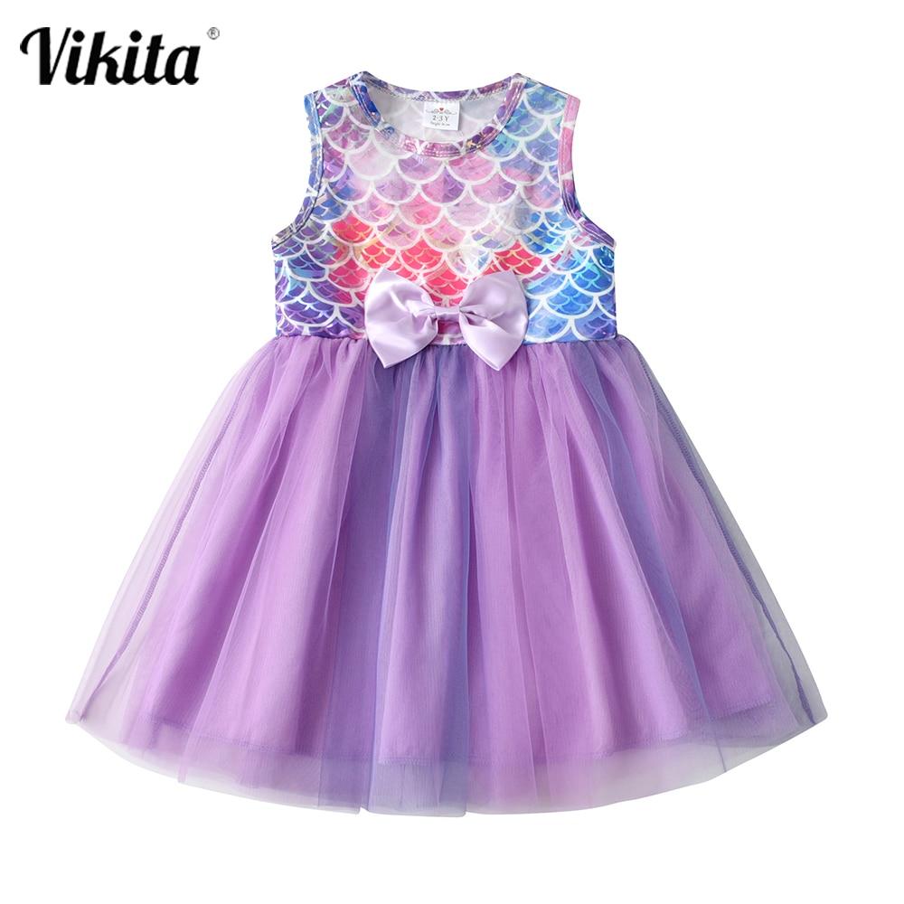 VIKITA Children Mermaid Dress Girls Summer Clothing Kids Birthday Party Prom Elegant Tutu Dresses Toddlers Princess Costumes