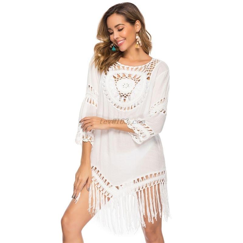 Feminino oco crochê floral maiô cover ups franja borlas assimétrico vestido de praia verão sexy túnica biquíni envoltório