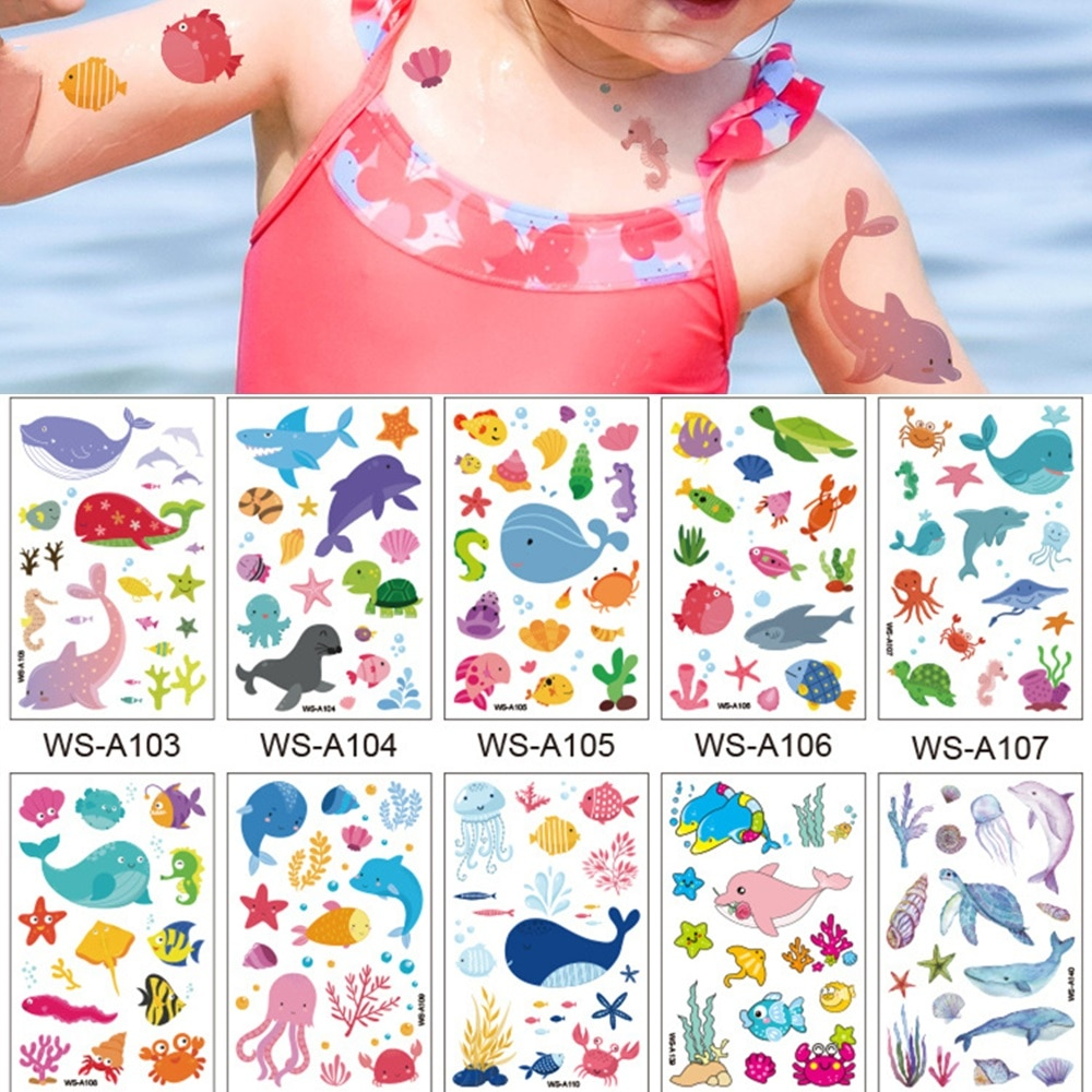 Фото - 10 Kinds Cartoon Marine Fish Tattoos Disposable Waterproof Children Cute Whale Octopus Temporary Body Makeup Concealer Sticker 10 kinds glitter powder tattoos children cartoon cars dinosaurs unicorns mermaid animal robot temporary body stickers disposable