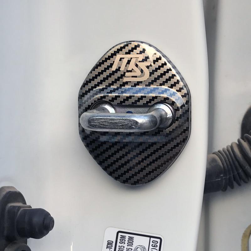 Cubierta de cerradura de puerta de coche de fibra de carbono para Mazda 2 Mazda 3 MS para Mazda 6 CX-5 CX5 accesorios de estilo de coche