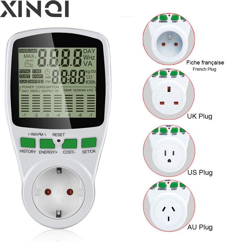 Medidor de potencia Digital, medidor de energía LCD, potencia, AU, EU, US, UK, enchufe, electricidad, Kwh, medidor de potencia, medición, potencia de salida analógica