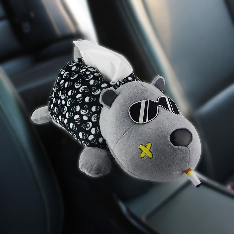 Caja de pañuelos de coche creativa de felpa Husky animales de dibujos animados perro servilletero en apoyabrazos reposacabezas accesorios de coche para decoración del hogar