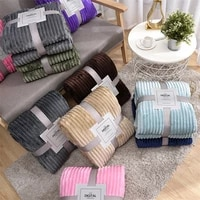 solid color blanket warm striped bed cover coral fleece soft sofa blanket bedspread decorative high end home textile products
