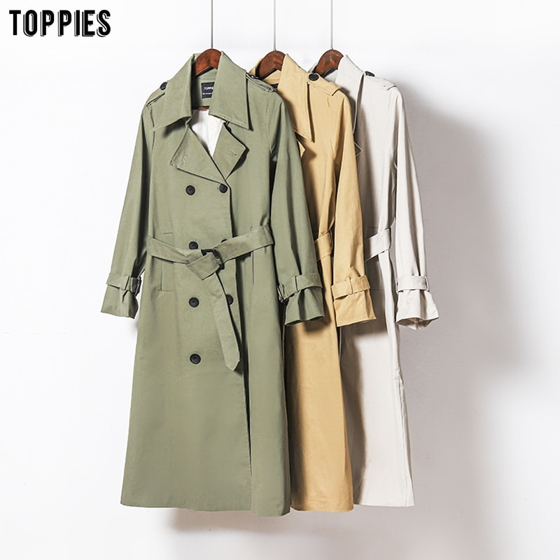 Toppies 2021 Spring Long Trench Coat Women Double Breasted Slim Trench Coat Female Outwear Fashion Windbreaker chic women s trench coat spring autumn belted short coat fashion slim fit double breasted short trench coat g092