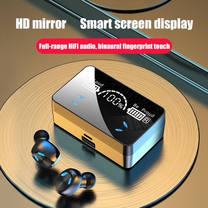 TWS Wireless Headphone Bluetooth 5.1 Earphones Smart Digital Display 9D Stereo Waterproof Earbuds He