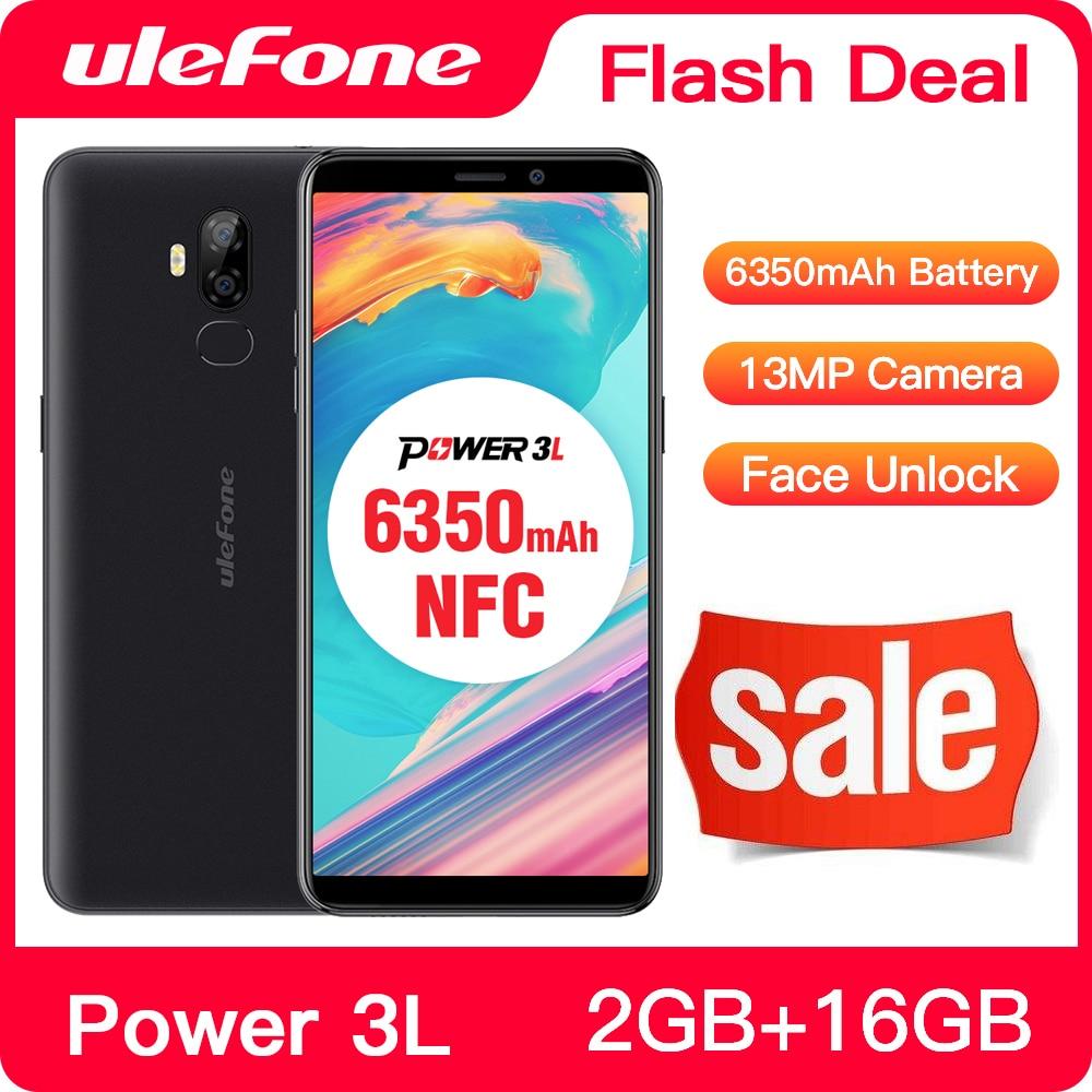 Перейти на Алиэкспресс и купить Чехол-накладка Ulefone Мощность 3L 6,0 дюймHD + Android мобильный телефон MTK6739 4 ядра 2 ГБ + 16 Гб NFC 13MP + 5MP Камера 6350 мАч Face ID 4G смартфон