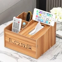 wood rectangular tissue box cover multifunctional tissue box holder with stationery remote control box decorative tissue pen