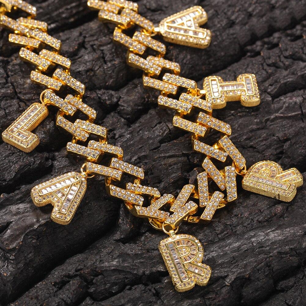 موضة الهيب هوب مجوهرات مخصص رسالة قلادة و سوار 12 مللي متر رابط رجالي ميامي الكوبية إضافة الرغيف الفرنسي رسالة مجوهرات هدية