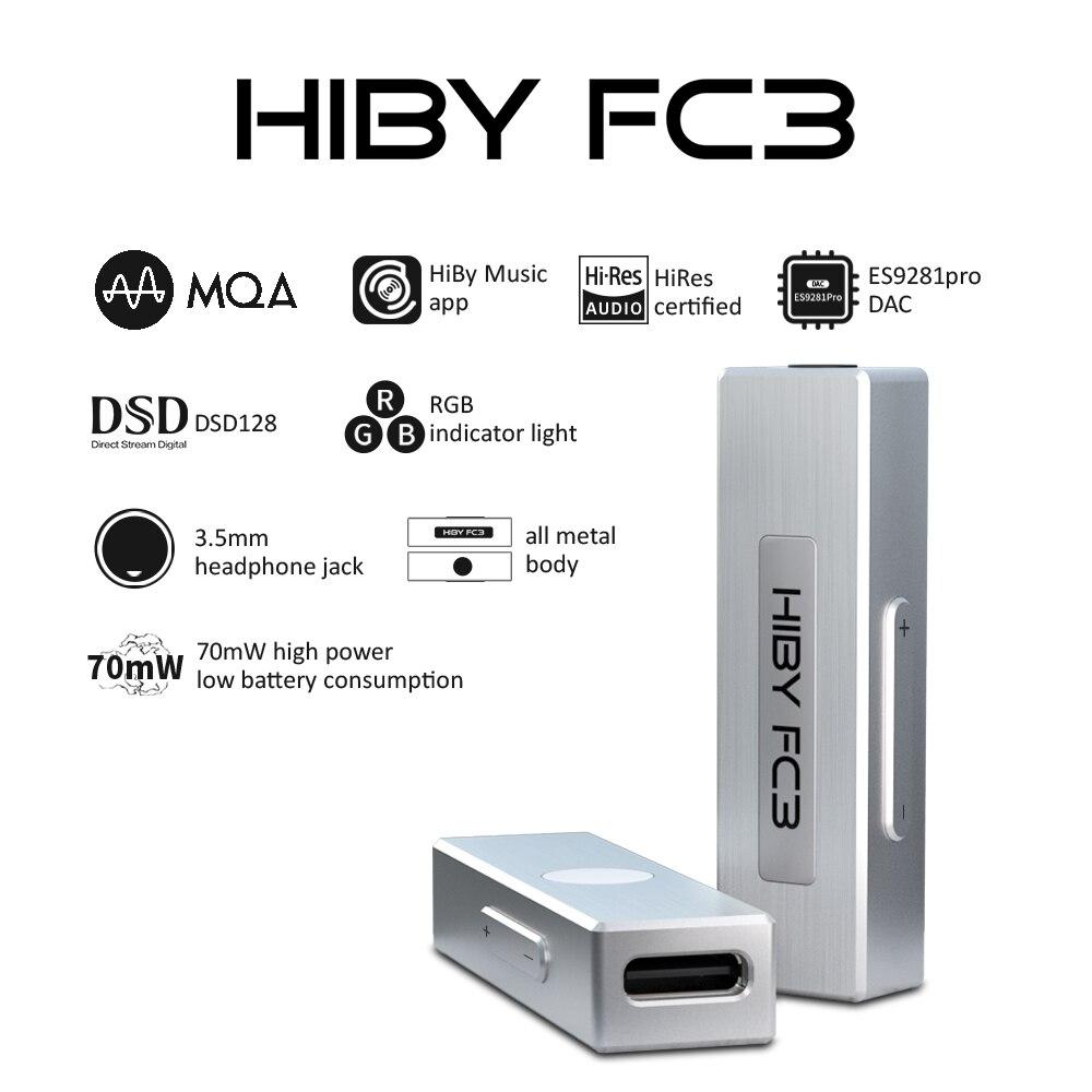 HiBy FC3 MQA مضخم ضوت سماعات الأذن ES9281 دونغل USB DAC فك الصوت DSD128 3.5 مللي متر الإخراج ل أندرويد iOS ماك Windows10
