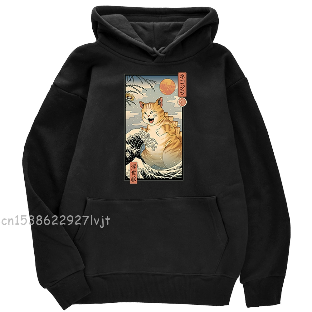 Ukiyo e Cat Cute Cartoons Print Male Hoody Solid Color Crewneck Pullovers Hoody Fashion Loose Casual Hoody Fleece Thick Hoodie