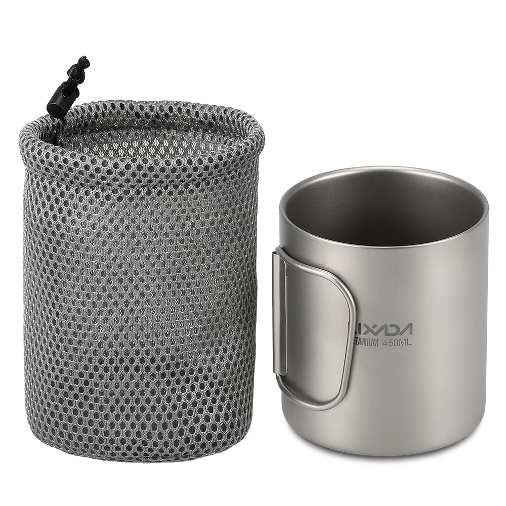 Copo de Parede Caneca de Chá com Alça Lixada Titanium Duplo Água Café Dobrável 220ml450ml