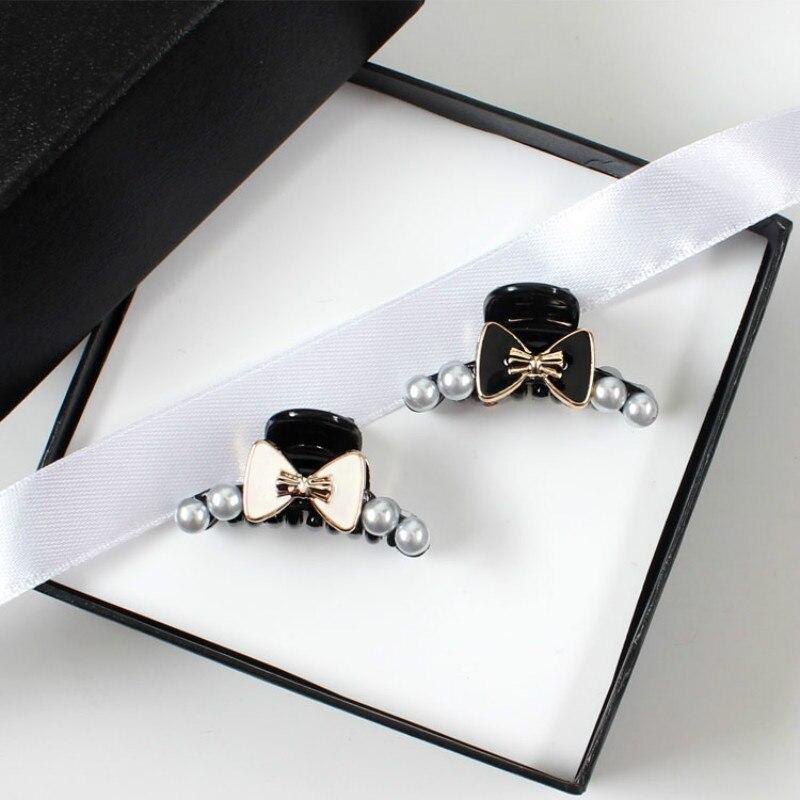 2 pcs novo coreano arco com pérola grampo de cabelo para meninas feminino hairpin cabelo barrette caranguejo garra clipes acessórios headwear ornamento