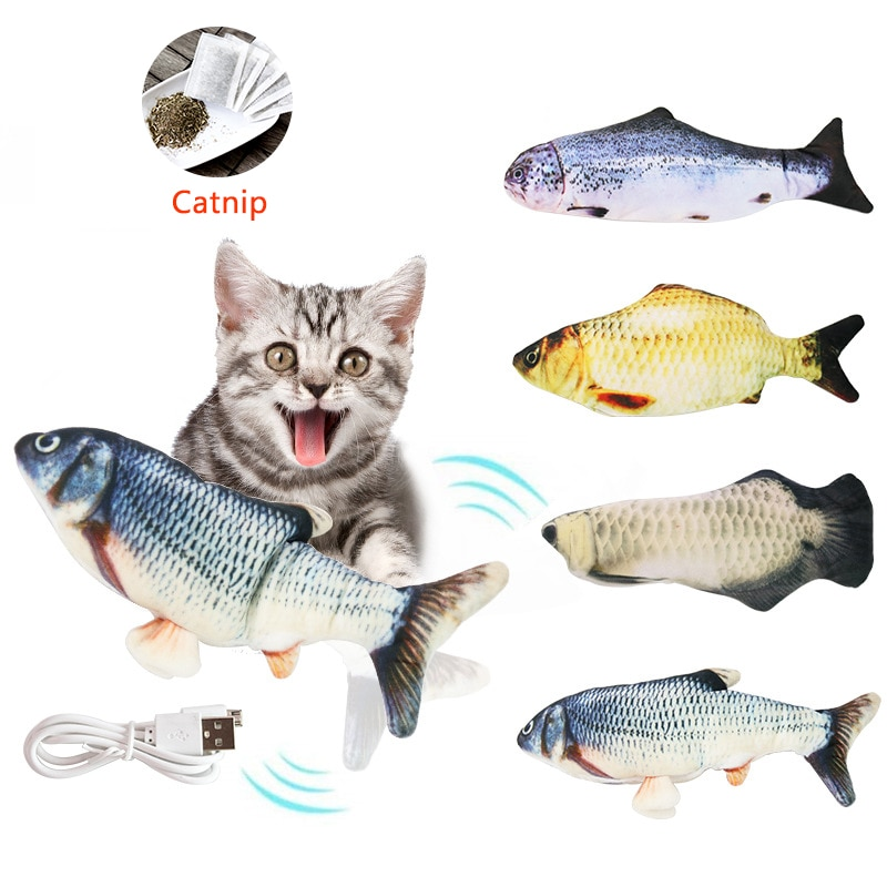 Pet Soft Electronic Fish Shape Cat Toy Electric USB Charging Simulation Fish Toys Funny Cat Chewing