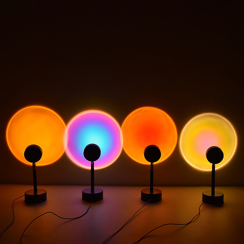 NEW Sunset Projection Night Lights Live Broadcast Background As Galaxy Projector Atmosphere Rainbow Lamp Bedroom Decoration