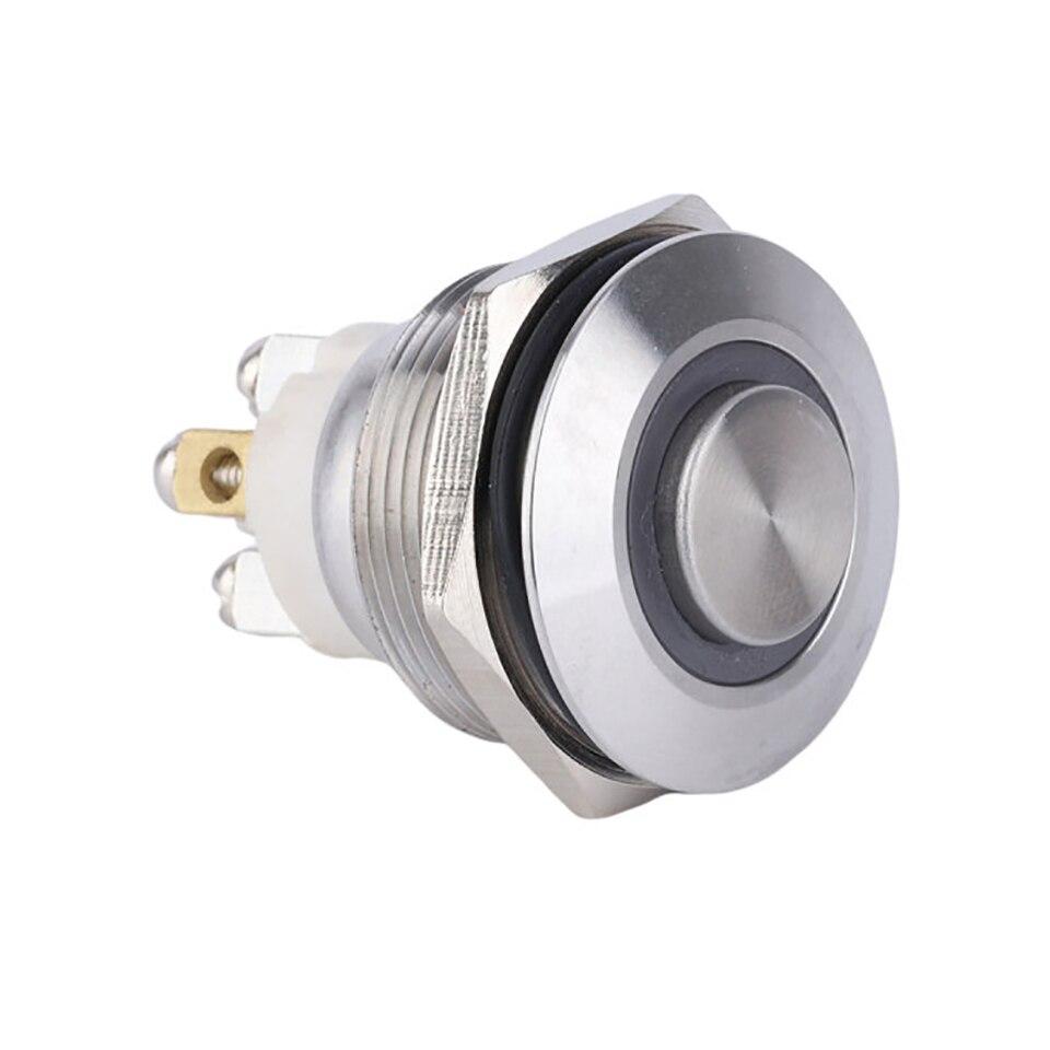 Interruptor de botón de Metal momentáneo de 22mm, luz LED 12V 24V 110V 220V 4, interruptor de botón de encendido de coche a prueba de agua