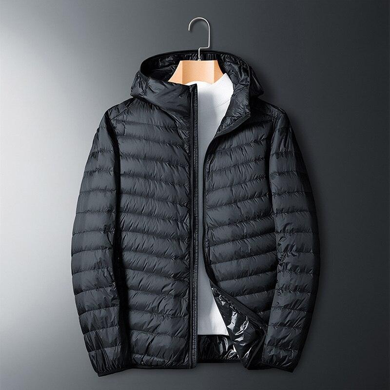 Осенне-зимняя легкая пуховая куртка Мужская короткая светильник Кая Повседневная приталенная куртка с капюшоном для людей среднего возрас...