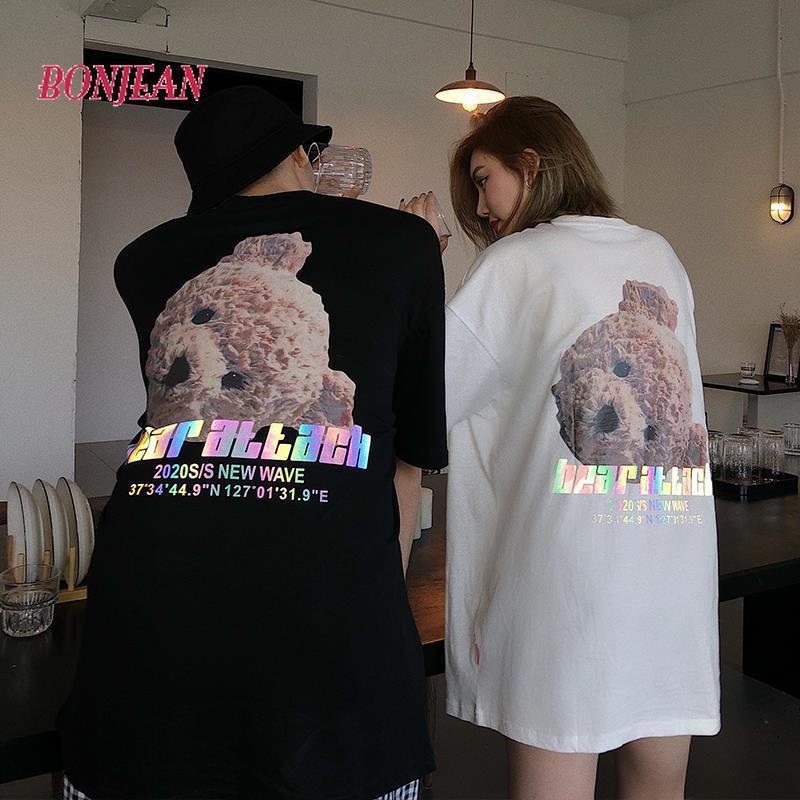 Reflexivo solto camisetas de algodão feminino bonito urso impressão recortada topo plus size solto namorado streetwear senhora festa streetwear