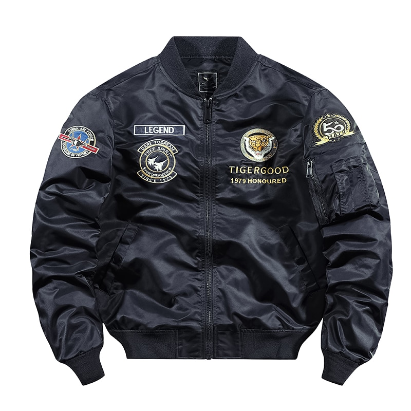 Tiger Army Jackets Bomber Jacket For Men Solid Color 2021 Fashion Uniform Tactical American Style Pilot Thin Baseball