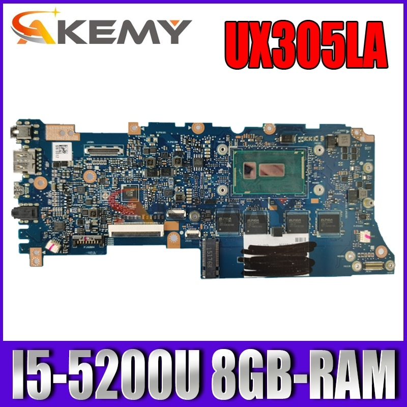Akemy UX305LA اللوحة الأم للكمبيوتر المحمول ASUS ZenBook UX305LA UX305L اللوحة الرئيسية الأصلية 8GB-RAM I5-5200U