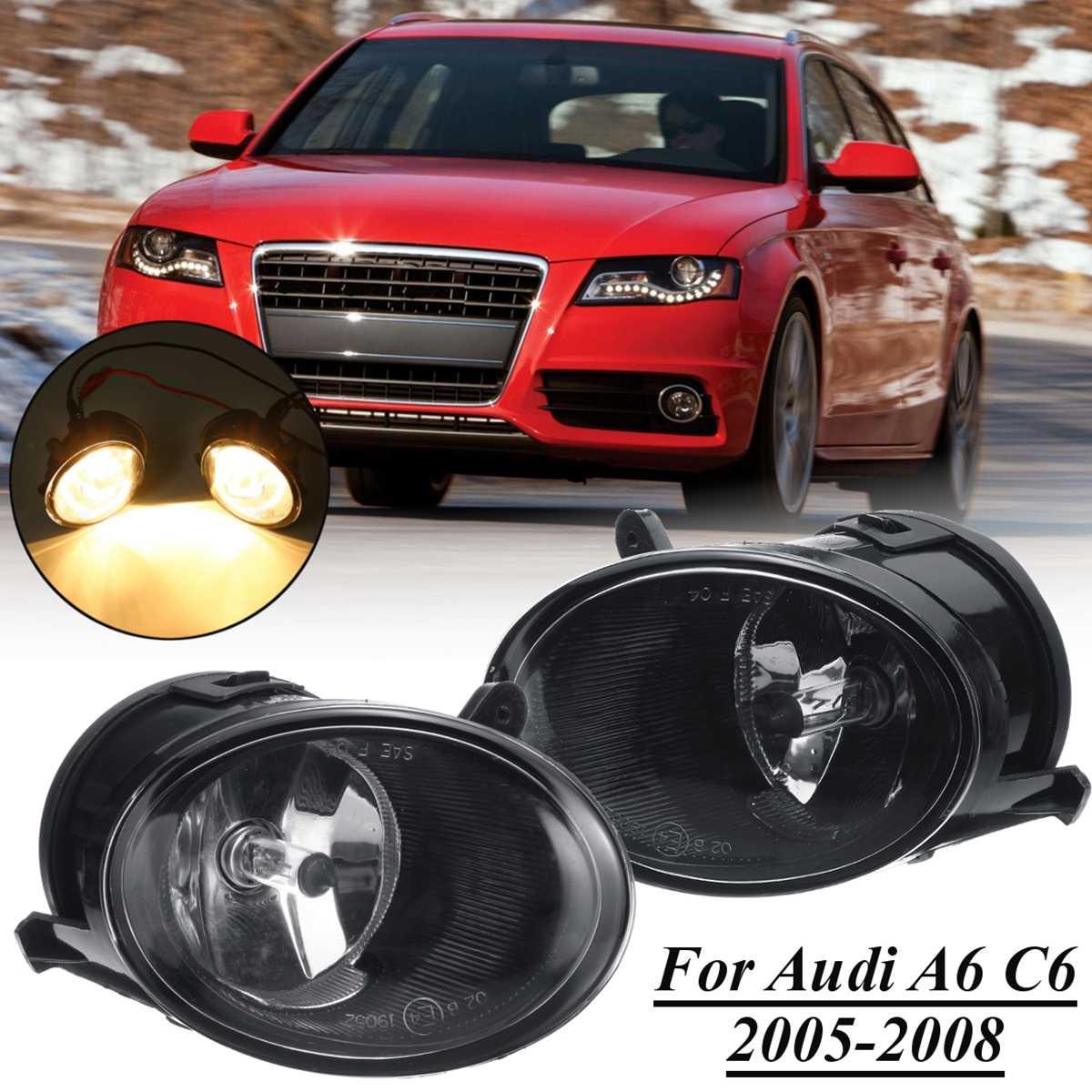 2 шт. 12 в автомобильный передний бампер Гриль Противотуманные фары для Audi A6 C6 2005 2006 2007 2008 галогенная лампа аксессуары для вождения