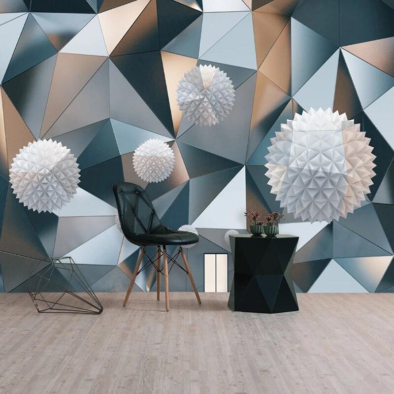 Papel tapiz autoadhesivo personalizado, murales geométricos esféricos estéreo 3D para sala de estar, TV, sofá y dormitorio, Arte Creativo, pegatinas 3D para decoración del hogar