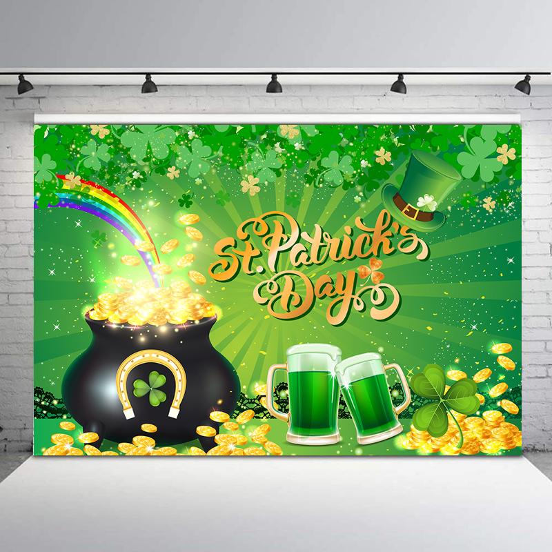 Telón de fondo de fiesta de Día de San Patricio, Fondo de fotografía de trébol de la suerte verde irlandés, bolsa de dinero dorada, fondos de fotografía