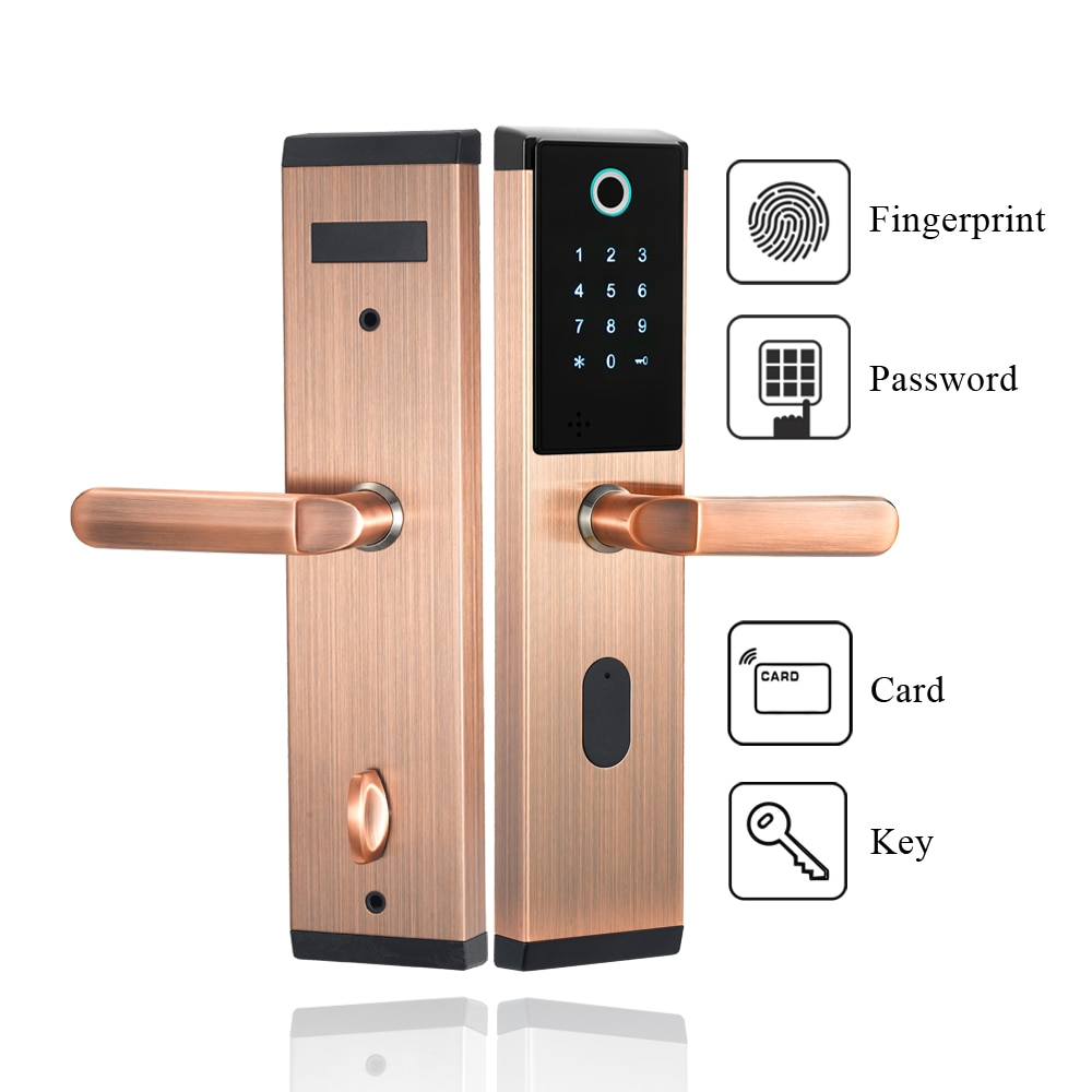 Smart Door Lock Keyless Unlocking Fingerprint IC/ID Magnetic Card Password Lock Core Handle Home Hotel Electric Deadbolt Lock