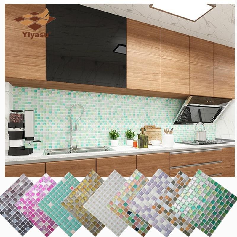 DIY Self Adhesive Mosaic Tile Backsplash Wallpaper Sticker Vinyl Bathroom Kitchen Home Decor 3D