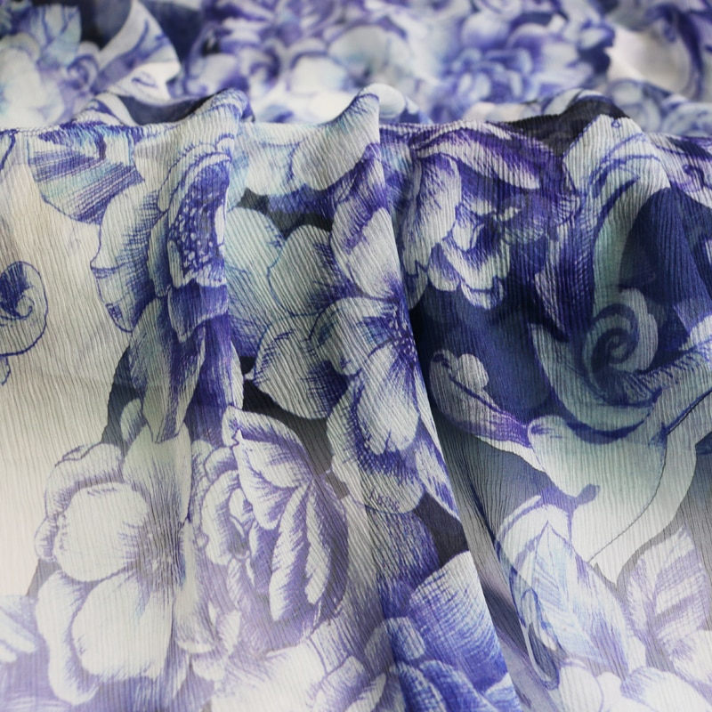 100cm*125cm Vintage Flower Silk Chiffon Gauze Crinkled Georgette Crepe Purple