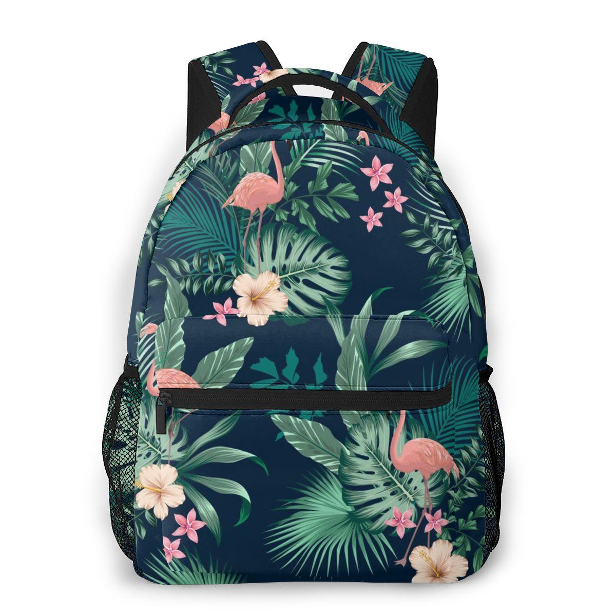 OLN-حقيبة ظهر متعددة الأغراض للنساء ، حقيبة مدرسية ، أوراق الشجر الاستوائية ، الزهور والفلامنجو ، حقيبة سفر للبنات