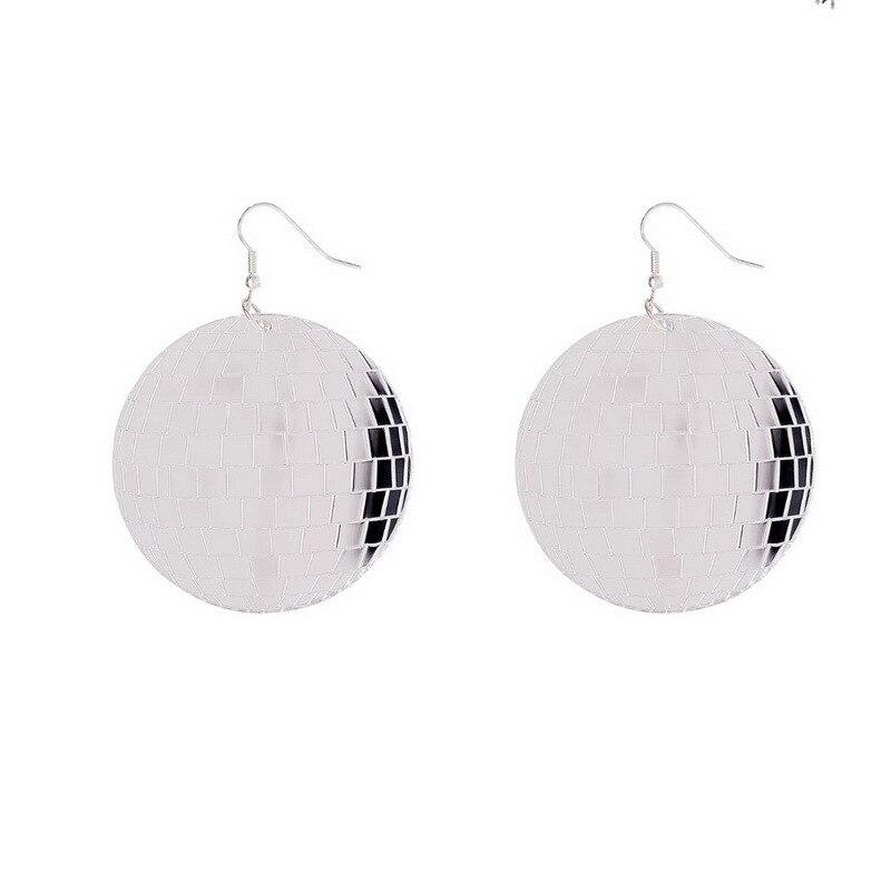 Vintage Chic plata Color espejo Surafce Disco bola pendientes colgantes de acrílico exagerados geométricos colgantes pendientes regalos de Año Nuevo