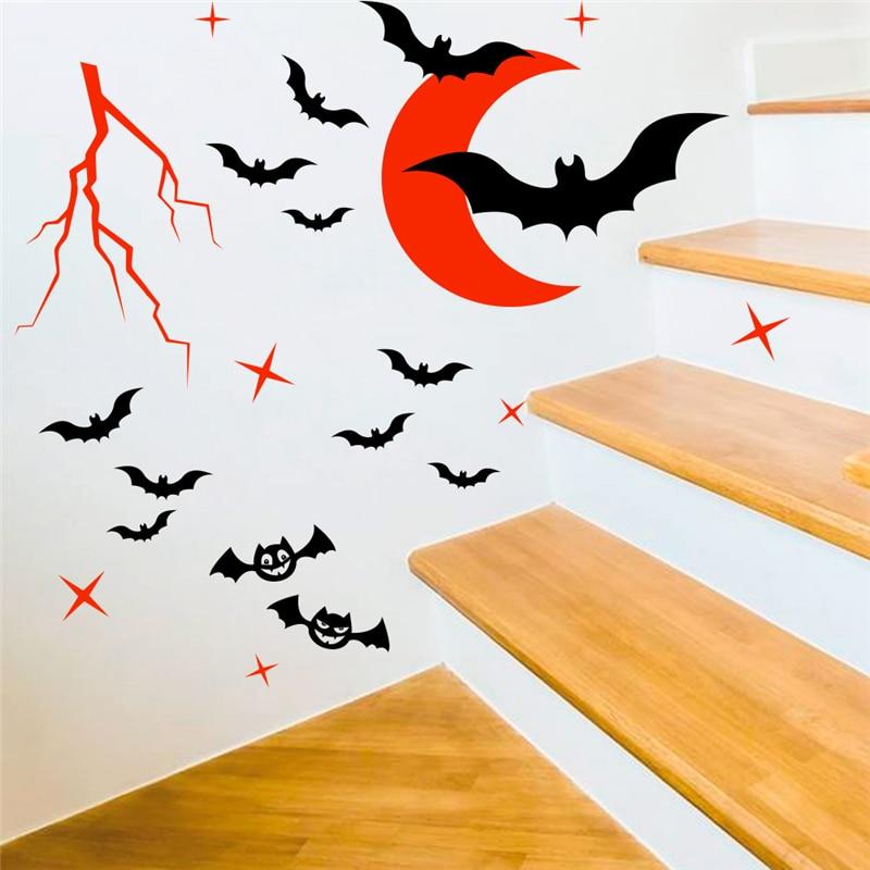Мультяшная летучая мышь Красная Луна настенные наклейки для детской комнаты или спальни домашний декор Хэллоуин Фэнтези настенные наклейк...