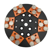 KT51 Metal Bond Diamond Grinding Block Lavina Grinding Pads with Three Round Segments for Concrete Terrazzo Floor 12PCS