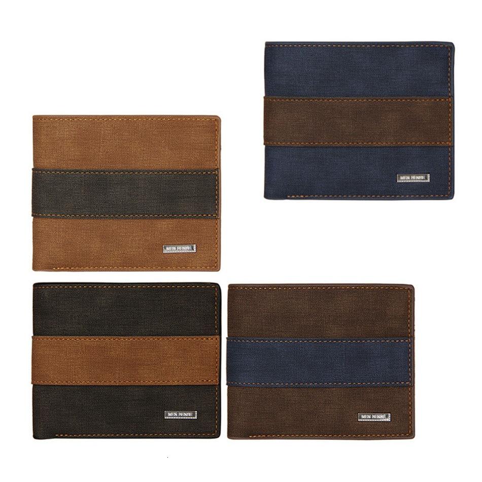 AudWhale New Designed Stripe Pattern Men's Wallet PU Leather Scrub Men's Purse Small Mini Male Leath