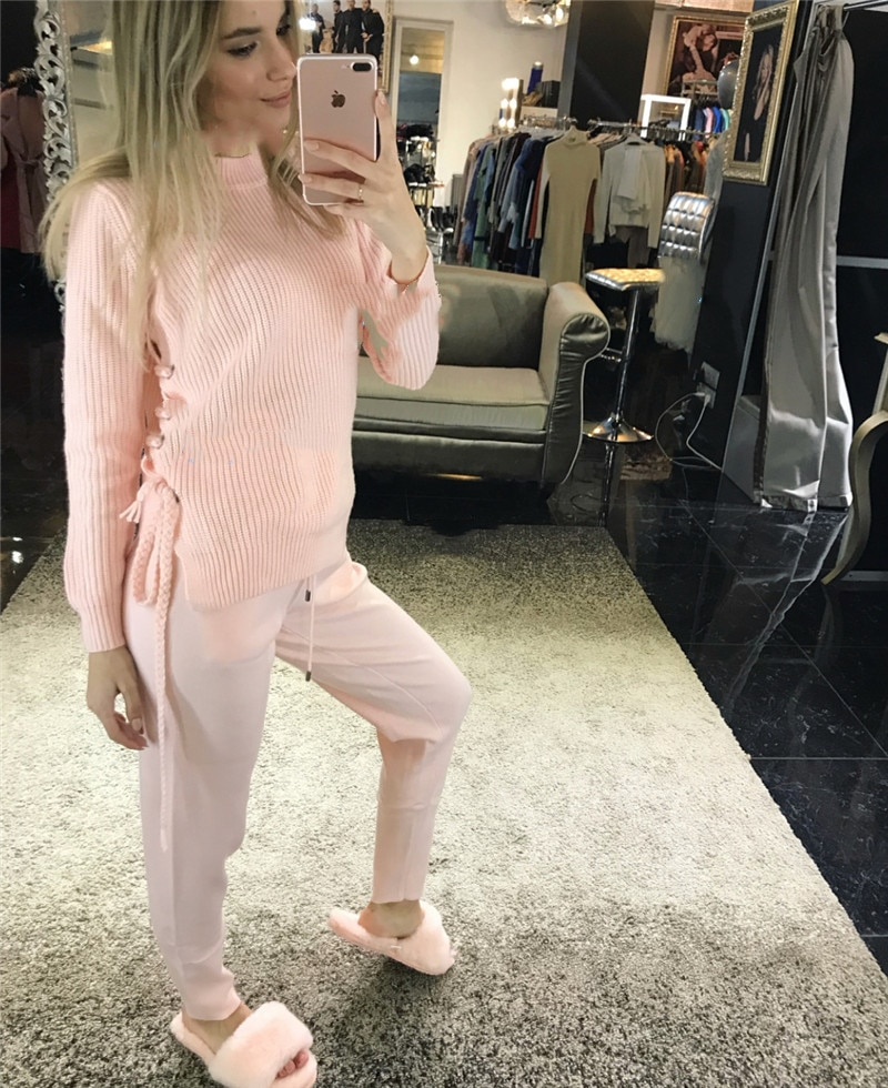 Tracksuits Real Wool Full Criss-cross O-neck 2020 New Women's Knit Suit Elegant Tie Fashion Cashmere Two-piece Female Pullover