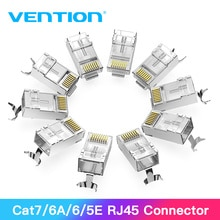 Tions RJ45 Stecker Cat7 RJ45 Modulare Ethernet Kabel Kopf Stecker Gold-überzogene Cat6 Crimp Netzwerk RJ45 Crimper Stecker Cat7