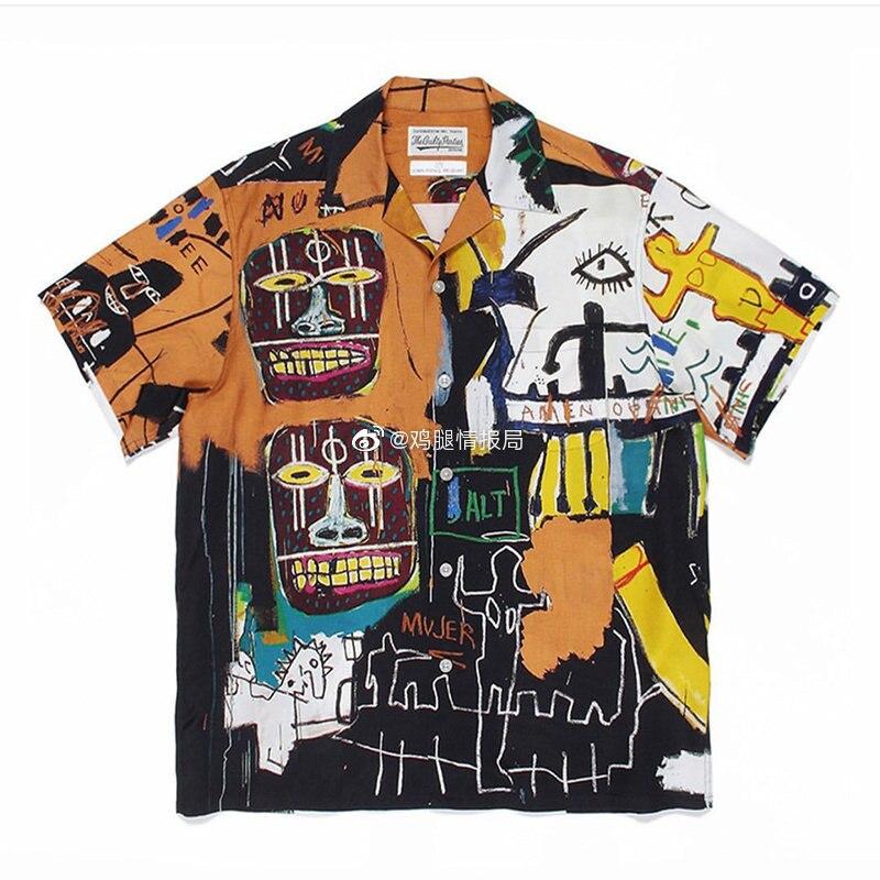 الكتابة على الجدران الكرتون WACKO ماريا قميص موضة السفر قصيرة الأكمام قميص الطباعة الكاملة