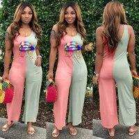 ursuper 2021 new jumpsuit trendy print patchwork jumpsuit printed stitching jumpsuit